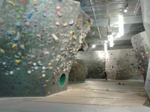 A look at one of the indoor bouldering walls of the Hive. And I can tell you...it's much scarier than it looks at first. And it looks pretty scary at first.